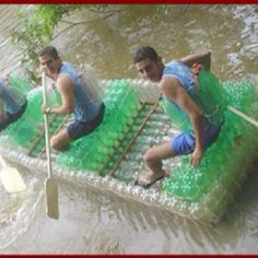 Boat made out of plastic bottles!