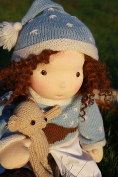 This little gentle girl is Raphaella. She is a handmade 16 inches Waldorf inspired doll. Raphaellas best friend is a little bear. Raphaella wears a