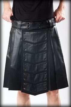 Scottish Leather Utility Kilt the one you add to your wardrobe. Our modern twist on the classic design includes an adjustable waist belt that lets you customize the fit to suit your body perfectly Leather Kilt, Leather Men, Vegan Leather, Black Leather, Leather Jacket, Leather Armor, Cheap Kilts, Kilt Shop, Kilts For Sale