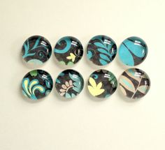 NEW  Midnight Garden  set of 8 Glass Magnets  by TannerGlass