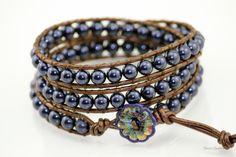 Midnight Blue Swarovski Wrap Bracelet by StoneSource on Etsy, $40.00
