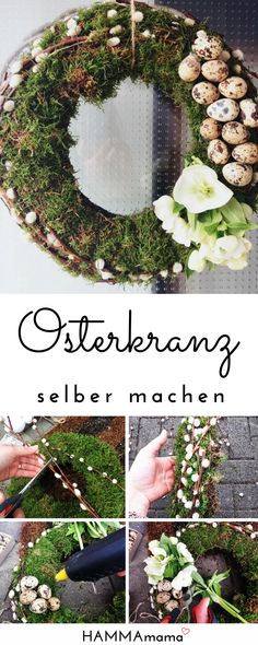 Wreath for the front door for Easter make yourself: Decoration from nature with moss and branches - HAMMAmama ° Skandinavisch Wohnen, Deko, DIY, Selbermachen - # Wedding Wall Decorations, Wedding Wreaths, Diy Spring Wreath, Diy Wreath, Tulip Wreath, Floral Wreath, Wreaths For Front Door, Door Wreaths, Christmas Wreaths