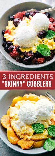 Lower calorie cobblers (berry and peach) that make a delicious and lighter summer treat! The peach cobbler requires only THREE ingredients Healthy Desserts, Delicious Desserts, Dessert Recipes, Yummy Food, Healthy Recipes, Ww Desserts, Healthy Foods, Easy Recipes, Vegetarian Recipes