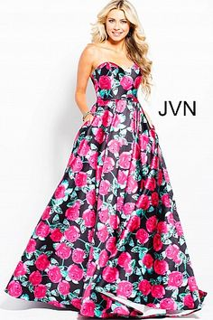 Floral Print Strapless Sweetheart Neck Pleated Prom Ballgown JVN57446  JVN   StraplessDress  SweetheartDress   dffc78d1b