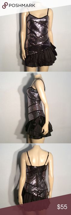 Bebe silver sequined dress Bebe silver sequined mini dress excellent condition no damage fabric polyester nylon spandex blend bebe Dresses Mini