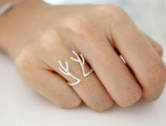 Adjustable Deer HornRain Deer ring Stag ring Antler por ModsTheMost