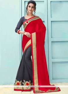 Ravishing attire to enhance your beauty. Make an adorable statement in this smashy grey and red faux georgette half n half saree. The embroidered and patch border work looks chic and perfect for any . Indian Attire, Indian Ethnic Wear, Red Saree, Sari, Glamorous Dresses, Casual Saree, Designer Sarees Online, Looks Chic, Georgette Sarees