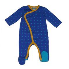 """Froy & Dind baby jumpsuit donkerblauw met \""""oogjes\"""" en gele bies"""