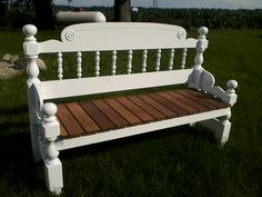 Handmade/repurposed headboard & footboard bench.