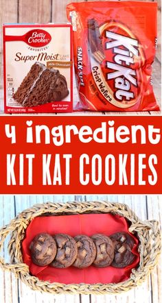 {Just 4 Ingredients} - The Frugal Girls Kit Kat Cookies Recipe! {Just 4 Ingredients} - The Frugal Girls,Kit Kat Cookies Recipe! {Just 4 Ingredients} - The Frugal Girls Kit Kat Cookies Recipe! {Just 4 Ingredients} - The Frugal Girls, Cake Mix Cookie Recipes, Easy Cheesecake Recipes, Cookie Favors, Köstliche Desserts, Delicious Desserts, Dessert Recipes, Pasta Recipes, Beef Recipes, Chicken Recipes