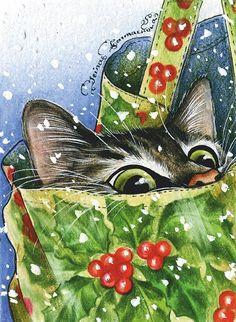 Christmas Rock, Christmas Cards To Make, Christmas Pictures, Christmas Animals, Christmas Cats, Vintage Christmas, Christmas Holidays, Illustration Noel, Illustrations