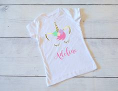 Unicorn shirt,Personalized Unicorn Shirt, Pink and gold glitter, Unicorn tee, Unicorn birthday, Unicorn party, Unicorn birthday party shirt by FawnAndMud on Etsy https://www.etsy.com/listing/516850381/unicorn-shirtpersonalized-unicorn-shirt