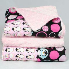 Penguin Baby Blanket, Pink Dimple Dot Minky with Winter Penguins, Bordered Blanket. $36.00, via Etsy.