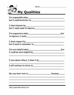 Worksheets You Can Print to Build Social Skills: My Qualities