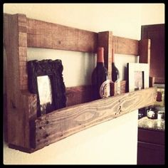 Shipping pallet reclaimed wood rack built by veterans