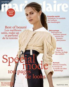 Alicia Vikander featured on the Marie Claire France cover from September 2016 Craig Mcdean, Alicia Vikander, Mario Testino, Fashion Cover, Love Fashion, Vanity Fair, Tapas, Marie Claire France, Swedish Actresses