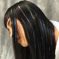 Hair Extensions Tutorial, Colored Hair Extensions, Extensions Hair, Hair Tinsel, Fairy Hair, Hair Streaks, Aesthetic Hair, Scene Hair, Grunge Hair