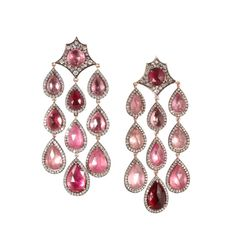 Parulina Arabian Nights Collection pink tourmaline diamond earrings 2012
