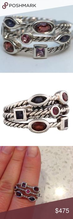 David Yurman Confetti Ring Authentic three-row David Yurman Confetti Ring. This beautiful ring is adorn with bezel set amethyst, color-change garnet, iolite and tourmaline throughout. Needs to be polished:) It is around a 6-6.5 in size. David Yurman Jewelry Rings