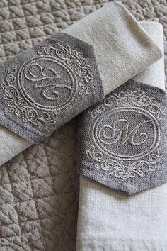 Monogrammed linen napkin rings