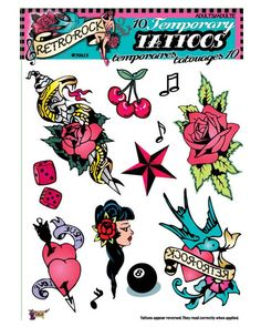 One sheet of retro rock n' roll style temporary tattoos, great for a pin-up girl or rockabilly costume! J Tattoo, Rock Tattoo, Temp Tattoo, Tattoo Kits, Temporary Tattoo, Tattoo Ideas, Dream Tattoos, Fake Tattoos, Old Shool