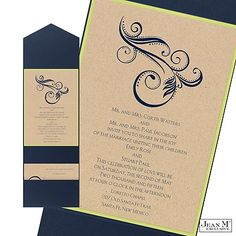 Kraft Paper Layered Wedding Invitation with Pocket--in love!