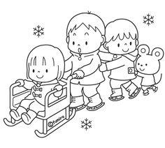 アイススケートをする子どもたちのイラスト(ぬりえ)
