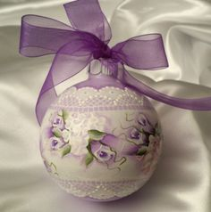 Hand Painted Christmas Ornament Cottage Chic Purpe lRoses Shabby Lace HP Glass