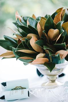 A pretty bowl or vase can be filled on a budget with eucalyptus leaves for a beautiful impact.
