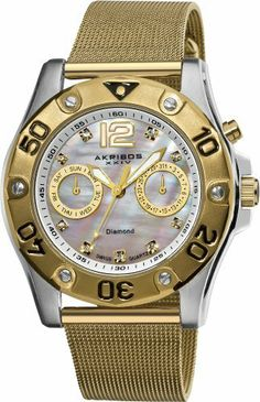 Akribos XXIV Women's AK553YG Diamond Multi-Function Mesh Bracelet Watch Akribos XXIV. $139.00. Date displayed at 3 o'clock, day at 9 o'clock. Nine genuine diamond hour markers. Stainless steel, gold-tone mesh bracelet. Water-resistant to 50 M (165 feet). Gold-tone bezel with bold black Arabic numerals and decorative screws. Save 80% Off!
