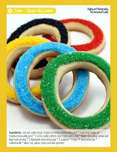 Dibbs on these for the Olympic party! We're going to need to bake up a batch of these Olympic Party cookies! Olympic Idea, Olympic Games, Olympic Crafts, Biscuits, Galletas Cookies, Sugar Cookies, Biscotti Cookies, Fun Cookies, Bird Party