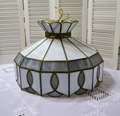 Vintage Slag Glass Swag Lamp Gray White Stained Leaded Glass Hanging Chandelier PanchosPorch dub team epsteam teamvintageusa pcfteam spsteam ppt vintage decor vintage kitchen slag glass lamp stained glass lamp swag lamp slag glass tiffany style light gray white brass hanging light retro vintage lighting shabby eclectic boho 145.00 USD #goriani