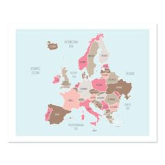 Map of Europe in Pink
