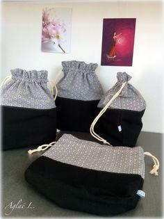 Très jolis pochons en coton ou sac à encours tricot ou crochet