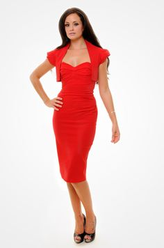 The red Palm Springs Bustier Pencil Dress and matching Vintage Shrug.