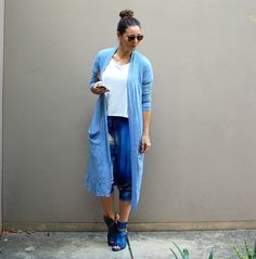 Daily Style: Monday Morning Blues. Blue boots, printed pants and a long blue cardigan. I love tan and blue together