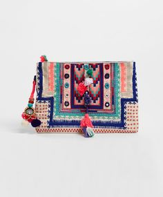 Embroidered clutch with mirror detail - OYSHO