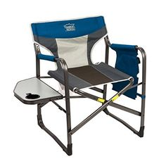 Product Description: This Timber Bridge director's chair is designed with breathable polyester fabric and a detachable armrest for natural support. All aluminum tube with powder coating makes it durable and easy to clean.Side table with built-in drink holder folds flat against the folding... more details available at https://furniture.bestselleroutlets.com/game-recreation-room-furniture/directors-chairs/product-review-for-timber-ridge-portable-folding-directors-chair-uti