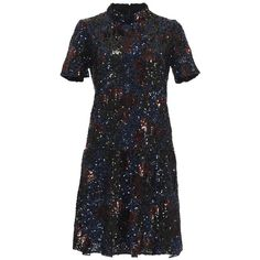 Burberry Sequin Embroidered Drop Waist Dress (26.765 BRL) ❤ liked on Polyvore featuring dresses, burberry, embroidered dress, silk dress, burberry dress, mini dress and high neck cocktail dress