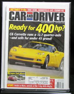 Car And Driver 2004 September C6 Corvette 300C Hemi Bonneville GXP Crown Vic DIY