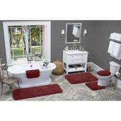 Made Here Bath Rug Collection, Red