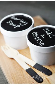 Soup containers with chalkboard lids