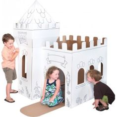 This Box Creation Medieval Castle design is large enough to accommodate 2-3 children. Includes pre-printed line work and color markers for tons of Coloring fun. Recreate your favorite castle fantasy as a Knight or a Princess. Lower the castle gate over the moat or stand in the castle tower and look out over the countryside.