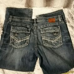 "BKE denim men's 38R x 30"" Distressed BKE denim men's jeans.  Sz 38R x 30"".  Has holes in both legs, see pics.  Good used condition.  #146 BKE Jeans Straight Leg"
