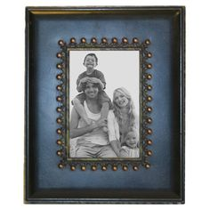 Wood and metal picture frame with golden bead acents.Product: Picture frameConstruction Material: Wood and metal