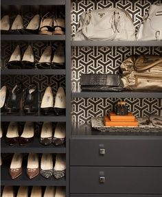 How to turn your closet into a boutique. Stencil behind shelves