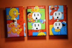 Sesame Street Cookie Monster Elmo Big Bird Bert 3 pc Light & Socket Switch Cover Set boys girls child kids room home decor bedroom nursery by ComicRecycled on Etsy