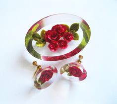 Reverse Carved Lucite Red Rose Brooch and Earrings Vintage.
