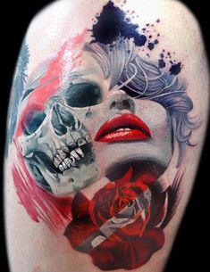 Trash Polka Style Tattoo