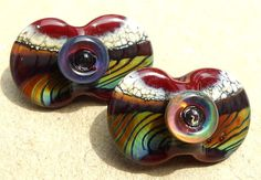 Wing DingsCrimson Mirage handmade lampwork bead double by Genea